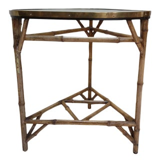 Antique English Bamboo Table with Glass Top and Brass
