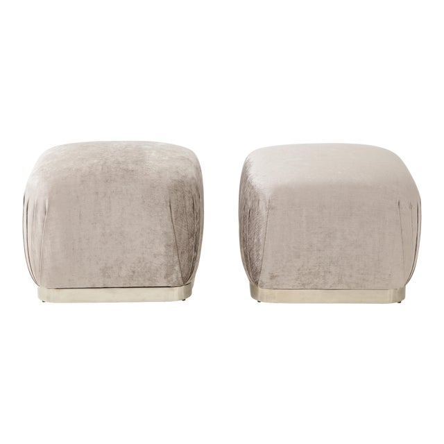 Souffle Ottomans or Poufs by Karl Springer - a Pair For Sale