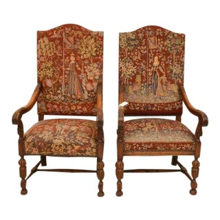Mid 20th Century Flemish Baroque Style Needlepoint Armchairs-a Pair For Sale