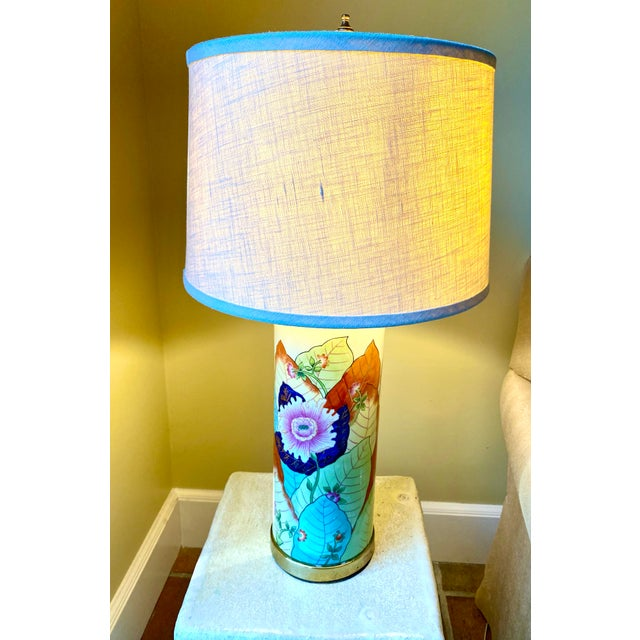 Metal 1980s Porcelain Tobacco Leaf Table Lamp For Sale - Image 7 of 13
