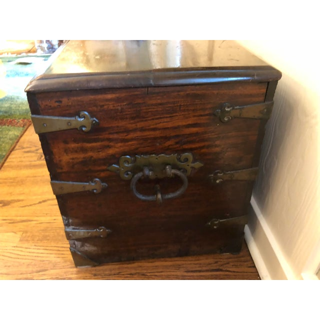 This is a gorgeous antique sea-mans chest. Date of origin estimated late 1700 hundreds to early 1800s. Solid brass...