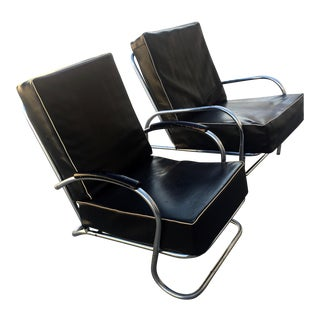 1940s Vintage Kem Weber for Lloyd Tubular Chrome Lounge Chairs- A Pair For Sale