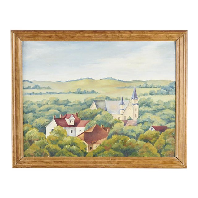 1940s Vintage Wpa Style Southwest Texas State University Painting For Sale