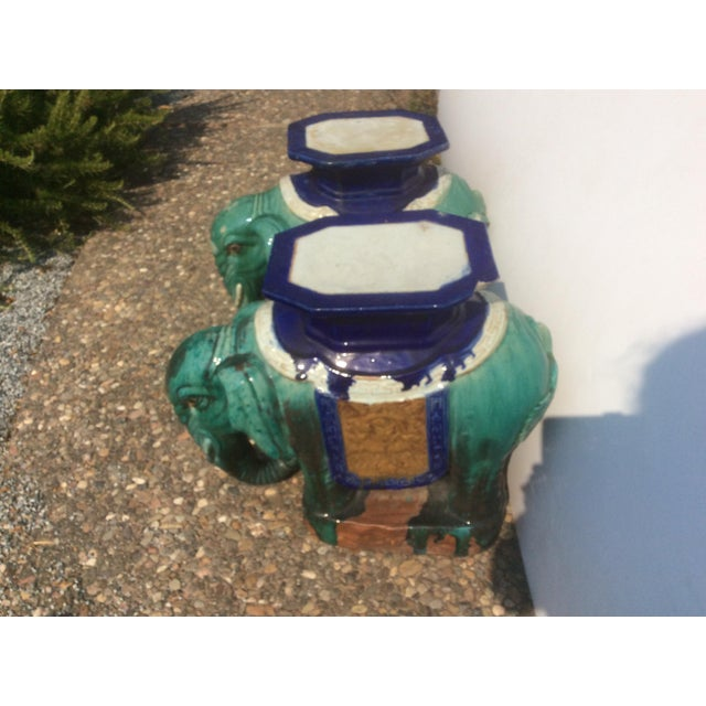 Art Deco Pair of Antique Chinese Ceramic Elephant Garden Stools For Sale - Image 3 of 10