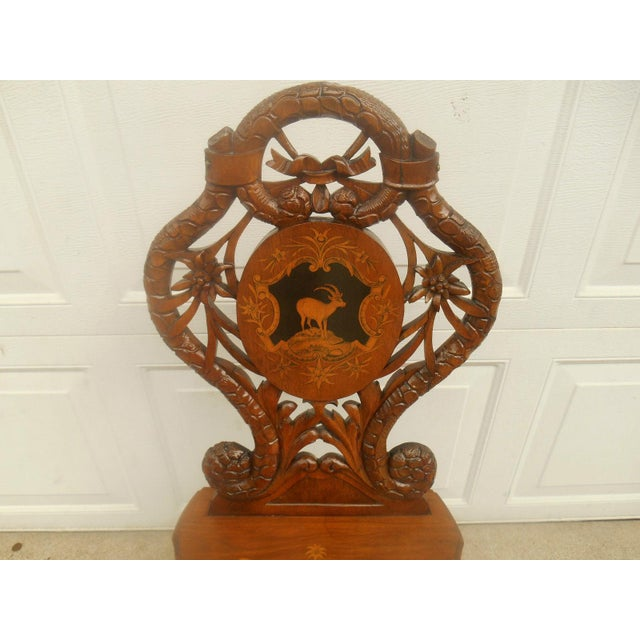 Antique Hand Carved Accent Chair - Image 4 of 8