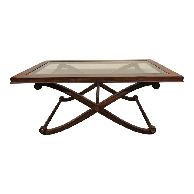 Traditional Beveled Glass + Wood Cocktail Table - Image 1 of 7