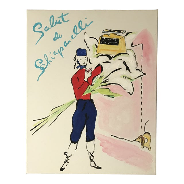 "Contemporary ""Salut de Schiaparelli Fragrance"" Acrylic Painting After a 1940s Advertisement For Sale"