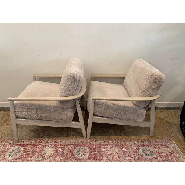 Mid-Century Inspired Shearling Lounge Chairs - a Pair For Sale - Image 4 of 12
