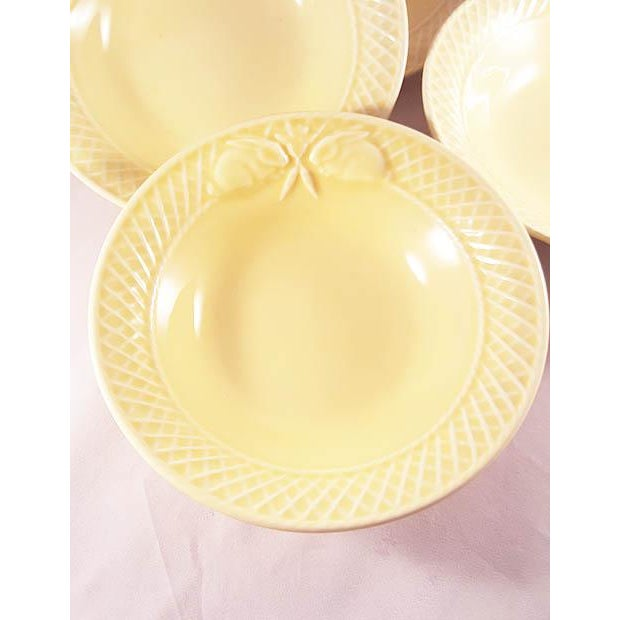19th Century Mid-Century Modern Bordallo Penheiro Majolica Yellow Rabbit Bowls - Set of 4 For Sale - Image 4 of 6