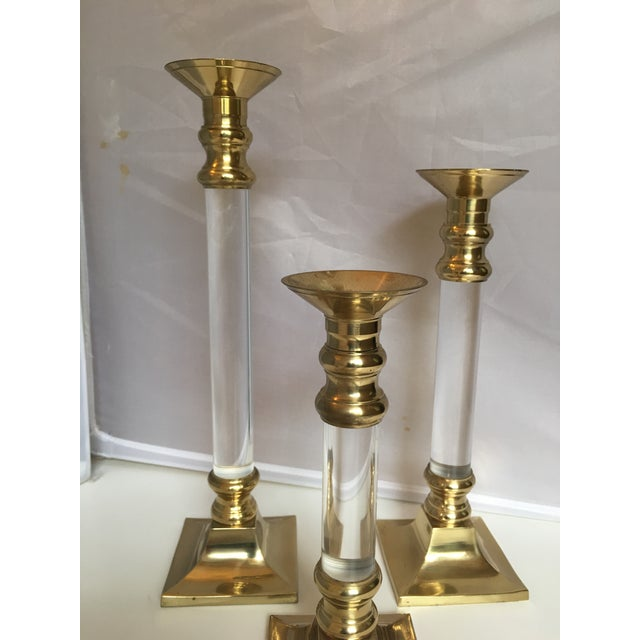 Lucite & Brass Candleholders - Set of 3 - Image 4 of 5