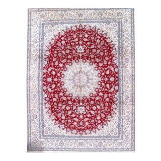 Pasargad N Y Fine Persian Nain Hand-Knotted Silk and Wool Pile Rug - 10′3″ × 13′9″