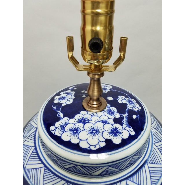 Asian Chinese Blue & White Hawthorne Blue Porcelain Table Lamps - a Pair For Sale - Image 3 of 8