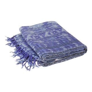 Vintage Navy Blue Ikat Throw For Sale