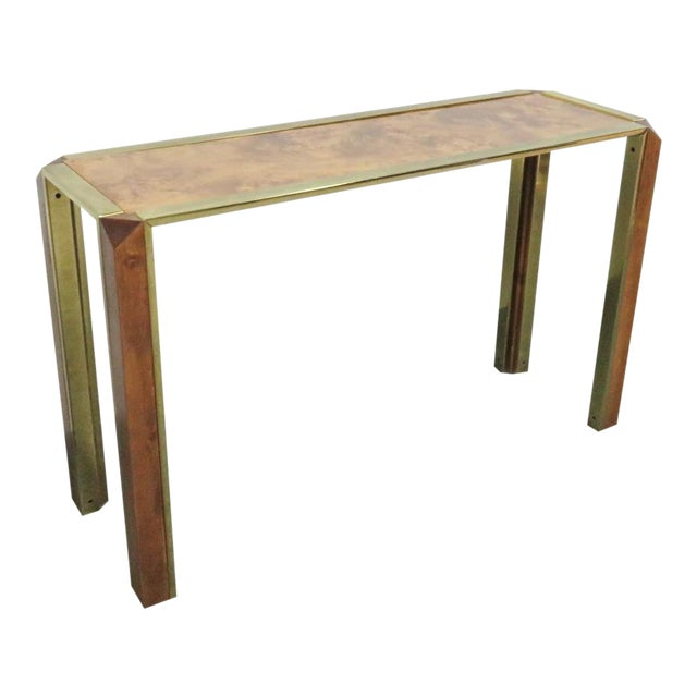 Mid-Century Pace Burl & Brass Console Table For Sale
