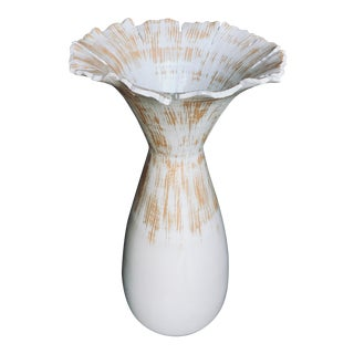 Abstract White Ceramic Blossom Vase For Sale