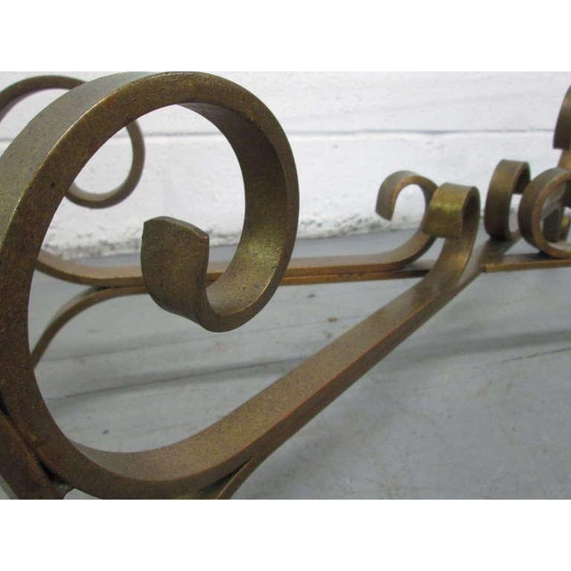 French Gilded Wrought Iron Coffee Table For Sale - Image 4 of 5