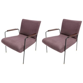 1960s Brazilian Jacaranda and Metal Armchairs in Violet Linen - a Pair For Sale