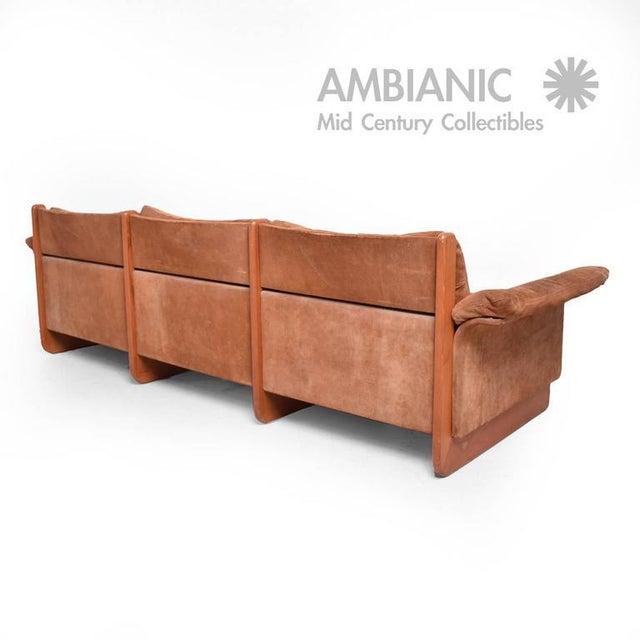 Danish Modern Danish Modern Suede & Teak Sofa For Sale - Image 3 of 8