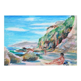 Vintage Pastel Drawing of Secluded Beach For Sale