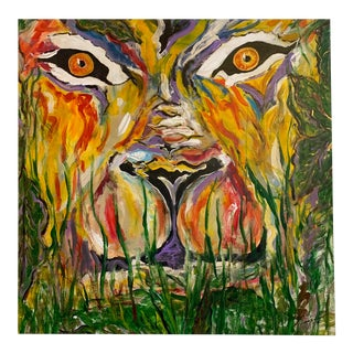 """Large-Scale Original Abstract Acrylic on Canvas """"Cat"""" Painting For Sale"""