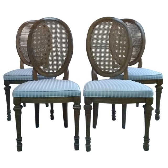 Wood Vintage Mid Century Drexel Francesca Louis XV French Oval Back Dining Chairs- Set of 4 For Sale - Image 7 of 7