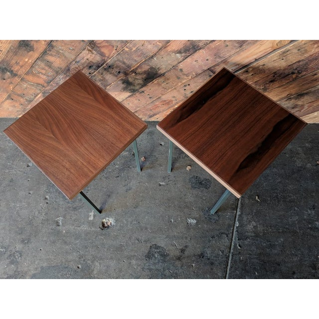 Custom Walnut & Iron Side Tables - A Pair - Image 4 of 5