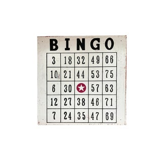"Vintage 48"" / 4 Ft Wood Distressed Hand Painted Bingo Card Sign For Sale"