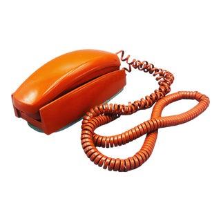 1970s Mid Century Orange Dial Phone For Sale