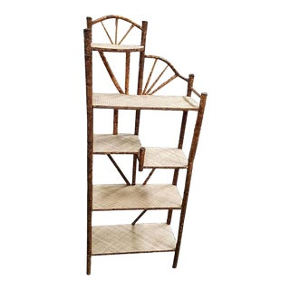 Restored Tiger Bamboo Five-Tier Shelf For Sale