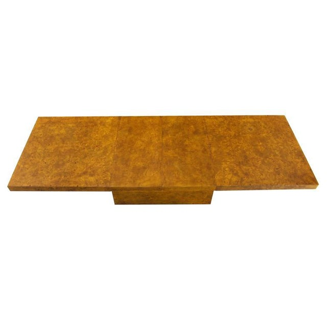 "Very nice Mid-Century modern burl wood dining table with 2 x 18"" leaves."