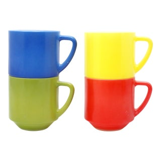 1960s Primary Color Glass Mugs by Fire King - Set of 4 For Sale