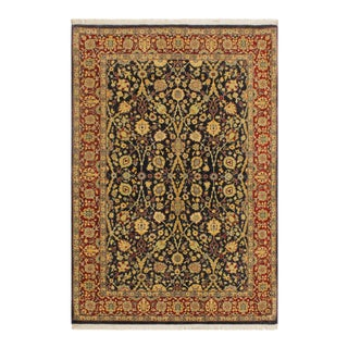 Istanbul Cristoph Blue/Red Turkish Hand-Knotted Rug -4'1 X 6'1 For Sale
