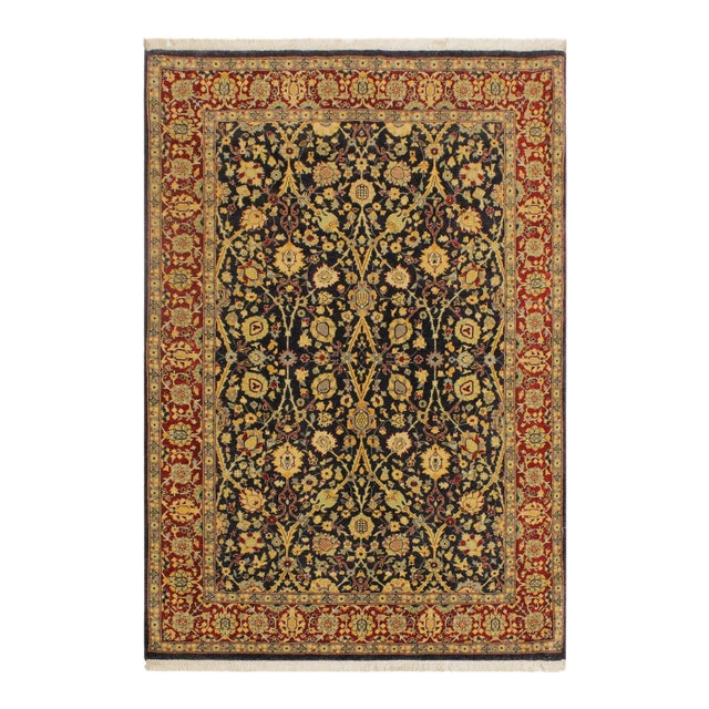 Shabby Chic Istanbul Cristoph Blue/Red Turkish Hand-Knotted Rug -4'1 X 6'1 For Sale