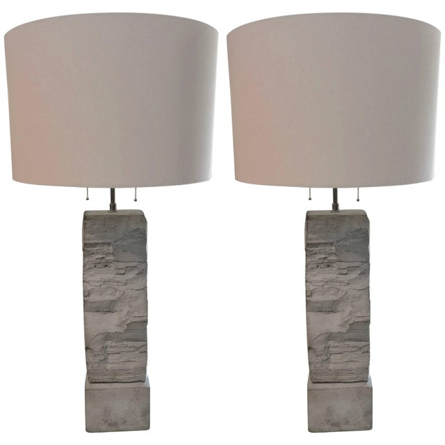 Cast Stoneware Rock Shaped Lamps Marked AP - a Pair For Sale - Image 11 of 11