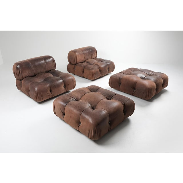 1970s Camaleonda Lounge Chairs in Original Brown Leather by Mario Bellini - 1970s For Sale - Image 5 of 11