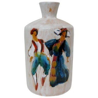 Vintage Artisan Ceramic Vase For Sale