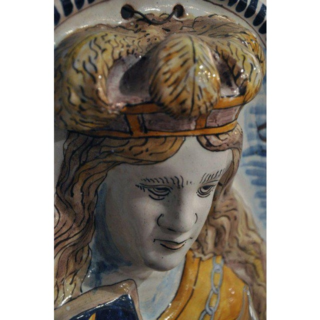 Blue 19th Century French Joan of Arc & Duc d'Orleans Faience Sconces - A Pair For Sale - Image 8 of 10