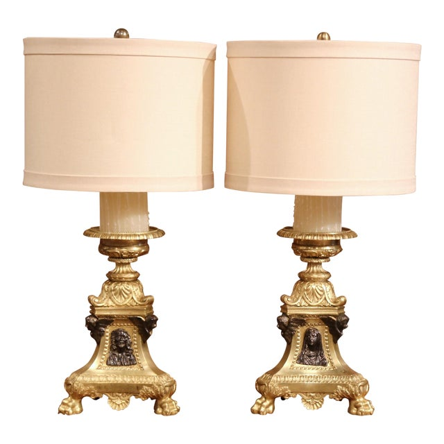 19th Century French Patinated Bronze Candlesticks Made Table Lamps - a Pair For Sale