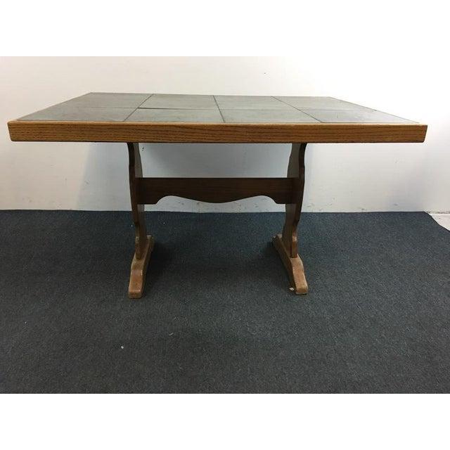 Vintage Carved Wood & Ceramic Tile Top Table - Image 3 of 4