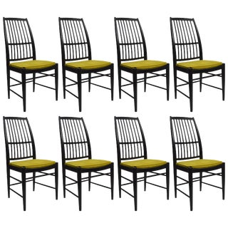 Set of Eight Black Mid Century Dining Chairs Attributed to Edmund Spence For Sale