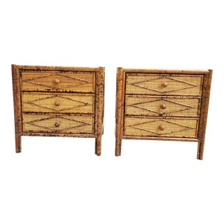 Mid Century Faux Bamboo & Grasscloth Nightstand-A Pair For Sale