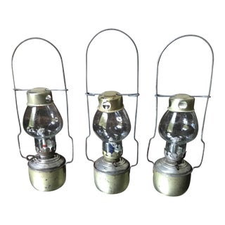 Vintage Small Glass Lanterns - Set of 3 For Sale