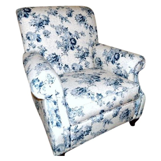 Ethan Allen Blue and White Floral Avery Chair - Image 1 of 6
