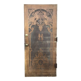 Spanish Carved Wood Front Door With Mythical Creatures For Sale