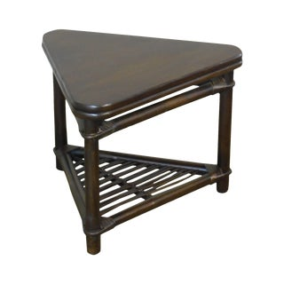 Ficks Reed Vintage Rattan Bamboo Triangle Side Table For Sale
