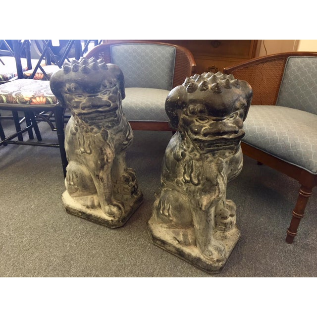 1950s Concrete Rotten Stone Rubbed Foo Dog Statues - A Pair For Sale - Image 5 of 10