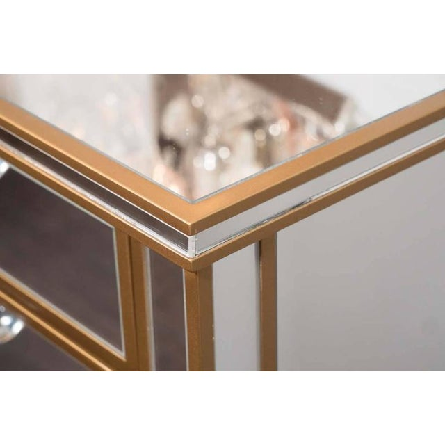 Wood Pair of Custom Gold Trim, Mirrored Commodes For Sale - Image 7 of 8