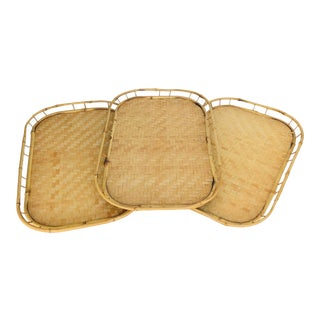 Vintage Mid Century Rattan Serving Trays - Set of 3 For Sale