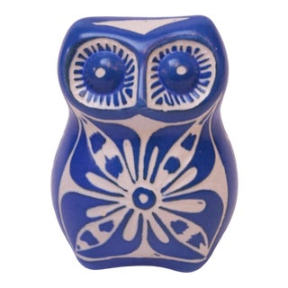 """Chilean """"Blue Zoo Ceramic"""" Owl by Pablo Zabal For Sale"""