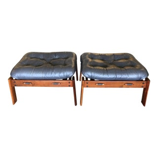 Vintage Leather Brazil Rosewood Ottomans For Sale
